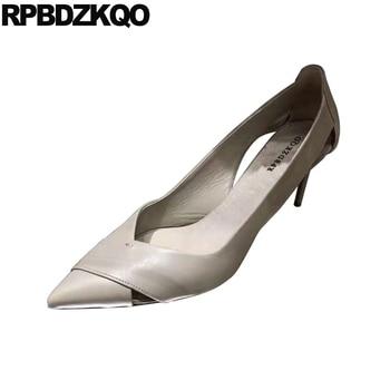 high heels designer brand shoes women stiletto pumps black gray scarpin fashion pointed toe 2019 thin runway slip on size 4 34