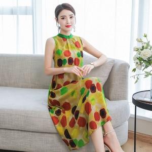 dress Silk-like printed for women fashion polka dot 2020 Summer new sleeveless vest silk dress