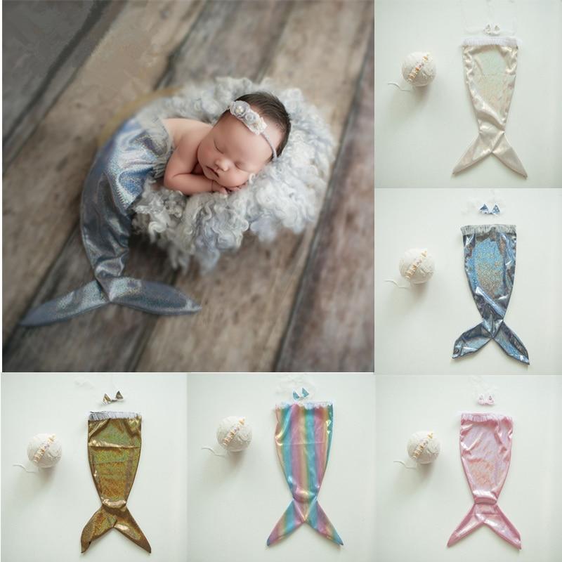 Newborn Photography Props Accessories Mermaid Baby Photography Costume Headwear+Bra+Tail 3pcs/Set Baby Photo Props Fotografia