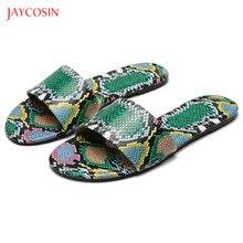 Nuevas sandalias antideslizantes Jaycosin 2020 de verano para mujer, zapatos de piel de serpiente blancos y verdes a la moda, sandalias de playa al aire libre romanas clásicas 36-42