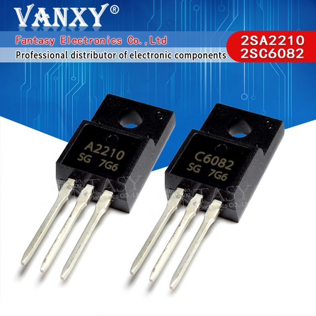 10PCS A2210 C6082 TO 220F 5Pairs (5pcs 2SA2210 + 5pcs 2SC6082) TO 220