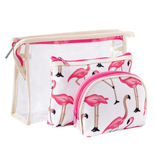 Organizer For Woman Waterproof PVC Flamingo Cosmetic Bag 3 pcs/suit Travel MakeUp Pouch Bags Storage bag Beautician Toiletry