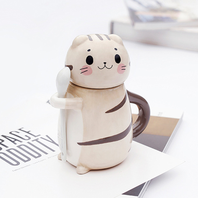 New Cute <font><b>Cat</b></font> Ceramics Coffee Mug With Spoon Creative Hand Painted Drinkware Milk Tea <font><b>Cups</b></font> Novelty Gifts image
