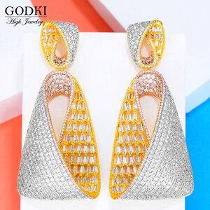 Image 2 - Женские длинные висячие серьги GODKI, роскошные серьги в форме капли воды с фианитами, свадебные серьги Дубая, 2018
