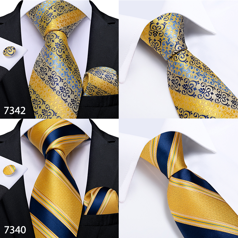 Gift Men Tie Gold Black Striped Paisley Silk Wedding Tie For Men DiBanGu Design Hanky Cufflink Quality Men Tie Set Dropshipping