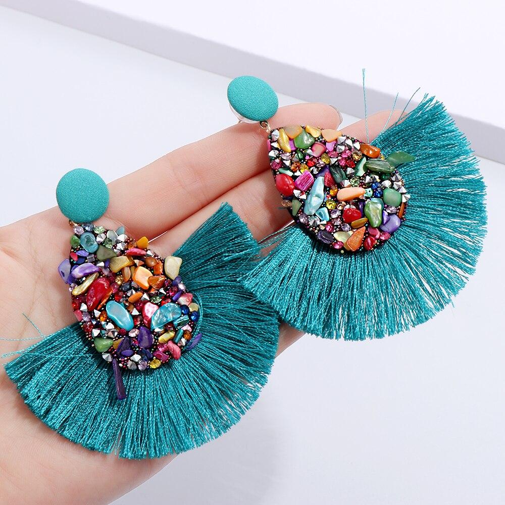1 пара, новые модные богемные серьги с кисточками, красочные очаровательные хрустальные блестящие блестки, висячие серьги с бахромой, Женск...