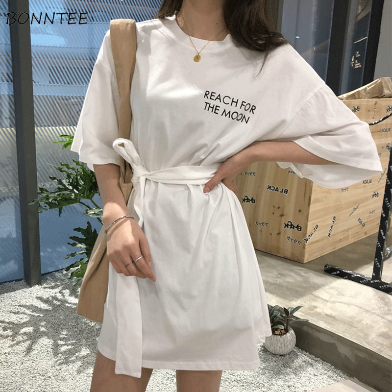 Dress Women Short Sleeve O-Neck Mini High Waist Letter Casual Loose Korean Style Chic Fashion Trendy Womens Summer Daily Leisure