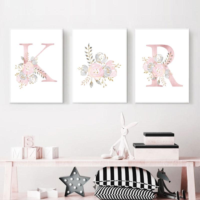 Bebek posterler kişiselleştirilmiş kız adı özel Poster kreş baskılar pembe çiçek duvar sanatı tuval yağlıboya resimleri bebek odası dekor