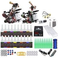 Kit de tatuaje para principiantes, suministros de equipo, bobinas, pistolas de máquina, aguja de tinta de 20 colores, agarre de punta de alimentación