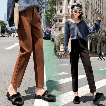 2019 Autumn New Women Elastic Woolen Pant Female Plus Size Casual Trousers Black/Gray Harem Pants Winter Wool Ankle-Length Pants 1