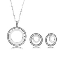 Стерлингового серебра 925 пробы Forever ожерелье и серьги подарочный набор прозрачный набор ювелирных подвесок