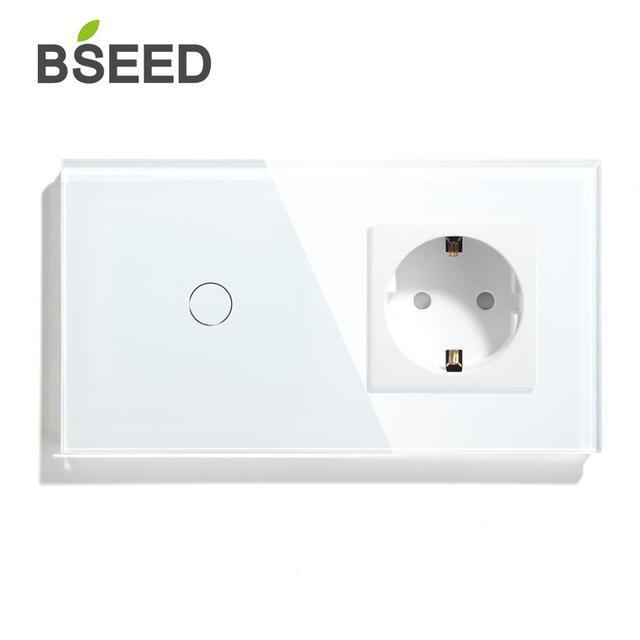 BSEED Interruptor táctil de 1 entrada, 2 entradas, 3 Entradas, 1 vía con enchufe estándar europeo, interruptores de Panel de cristal negro, blanco y dorado