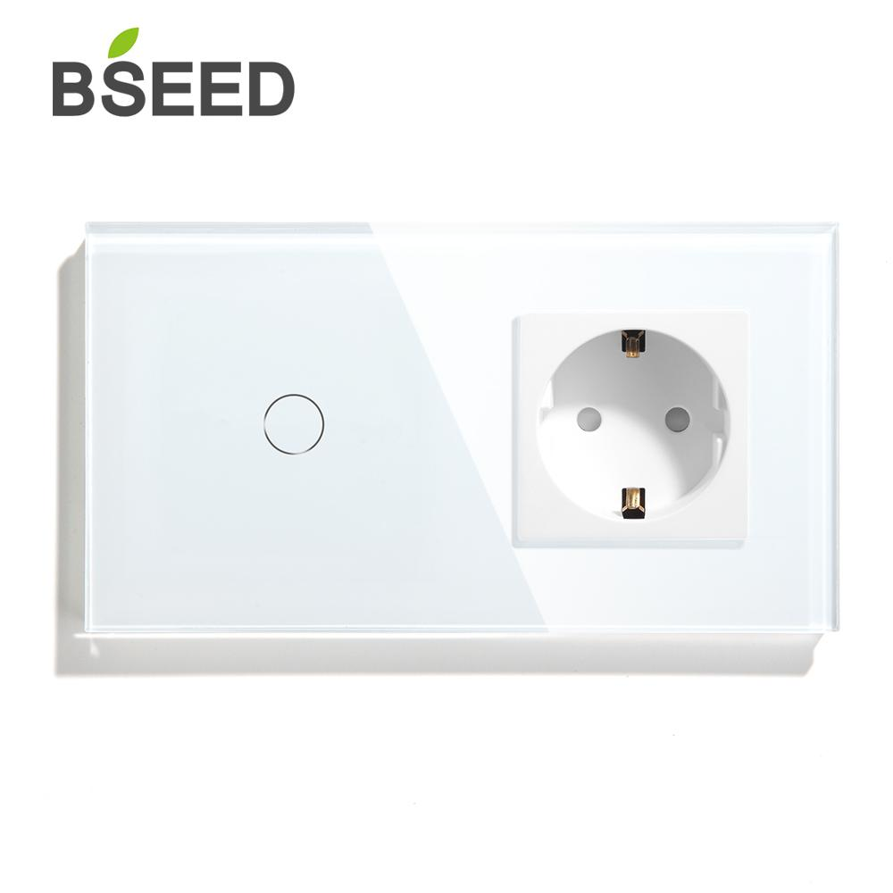 BSEED Touch Switch 1 Gang  2Gang  3Gang 1 Way 2 Way With EU Standard Socket Black White Gold Crystal Glass Panel Switches-in Switches from Lights & Lighting