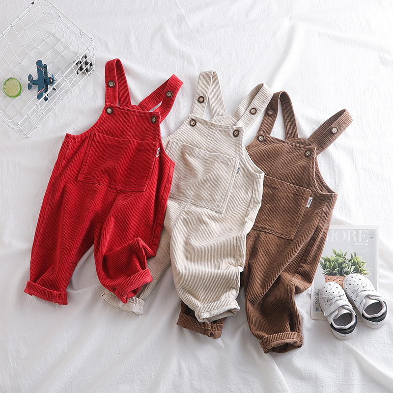 2019 Children's Clothing for 0-4 Years Baby Bib Overalls Baby Flannel Lined Toddler Corduroy Overalls