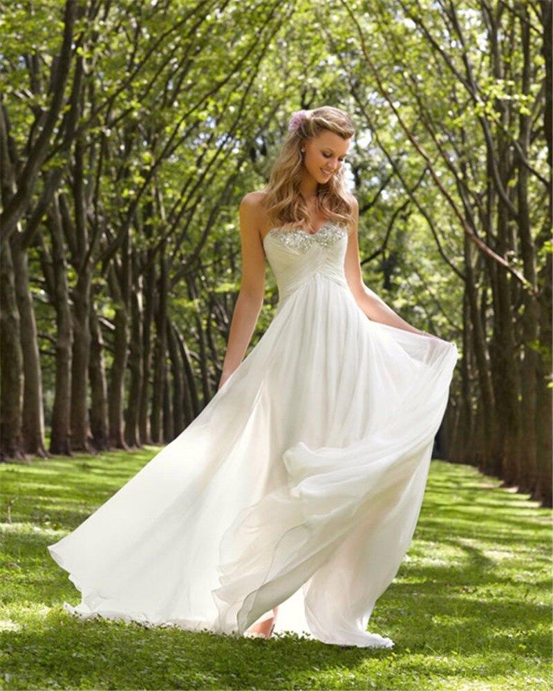 Cheap Long Wedding Dresses 2019 Sweetheart Simple Vestido De Noiva Robe De Mariee Beach Wedding Dress Bride Gowns Bridal Gown