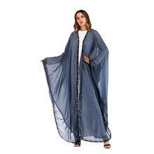 Мусульманское модное платье абайя с поясом из бисера халат длинным