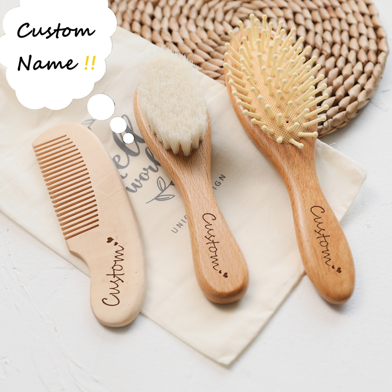 Custom Baby Hair Comb Brush Set Natural Wooden Comb Soft Wool Newborn Baby Bath Care Brush Personalized Massager Gift For Kids