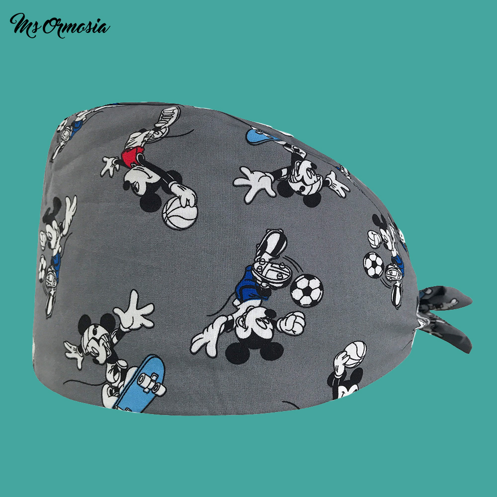 New Cartoon Printing Men And Women 100% Cotton Medical Nurse Cap Medical Doctor Cap Strap Operating Room Surgical Cap Beauty Hat