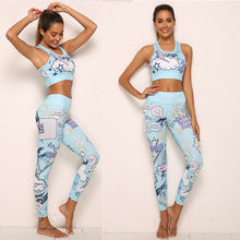 2PCS Camouflage Yoga Set Sports Wear For Women Booty Gym Clothing Fitness Yoga Leggings + Bra Sport GYM sport suit Femme(China)