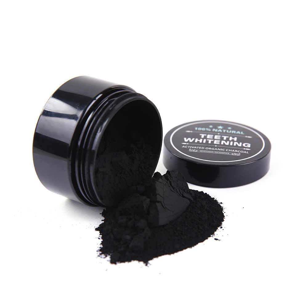 NATURAL Whitening Activated Charcoal Powder 30g Advanced Oral Hygiene Care Tooth Whitener ทันตกรรมชุด Toothrush 1/2 PCS