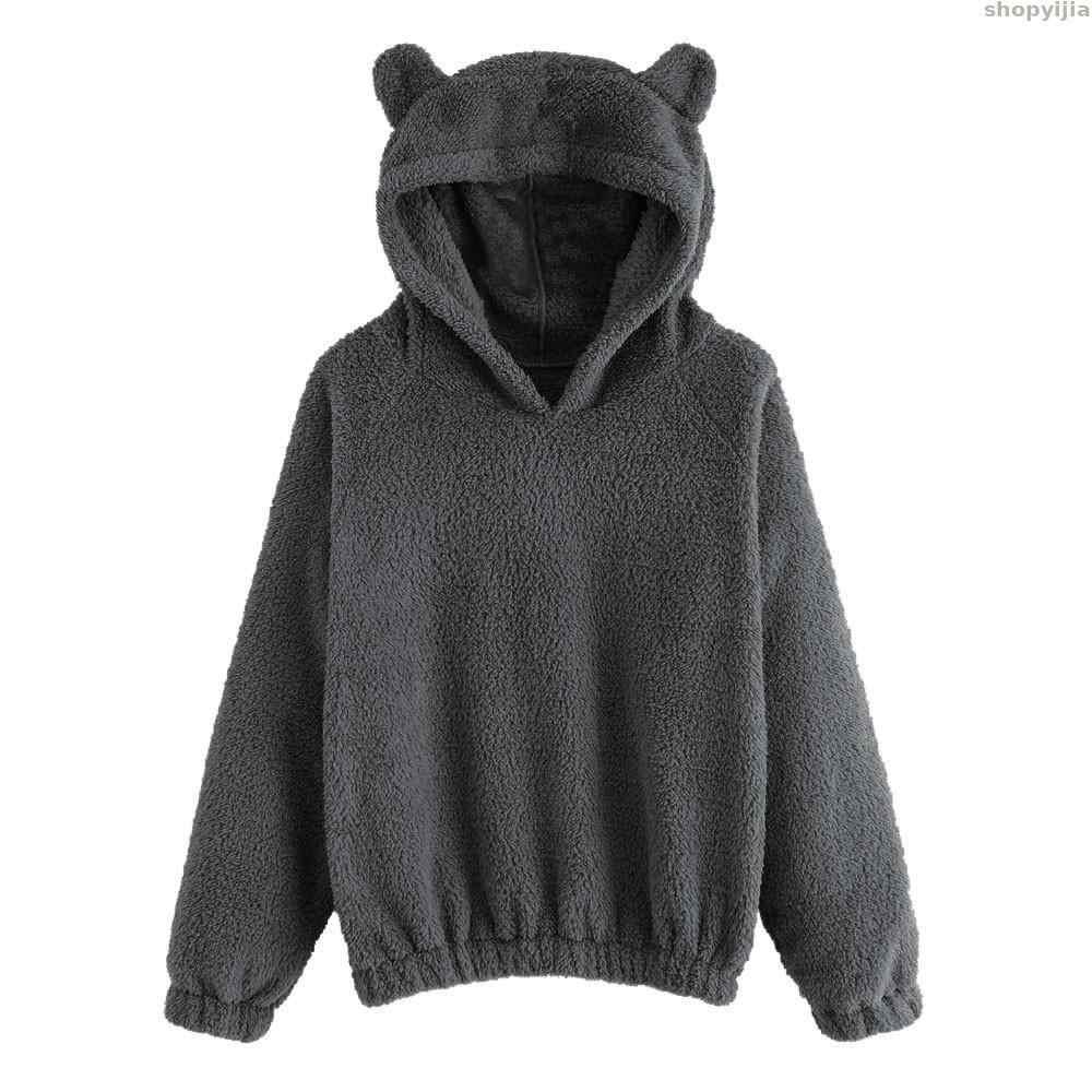 Neue Winter Warme Teddybär Ohren Weiche Jacke Dicken mantel Mit Kapuze Outwears Frauen Hoodies Sweatshirt Fleece Pelzmantel