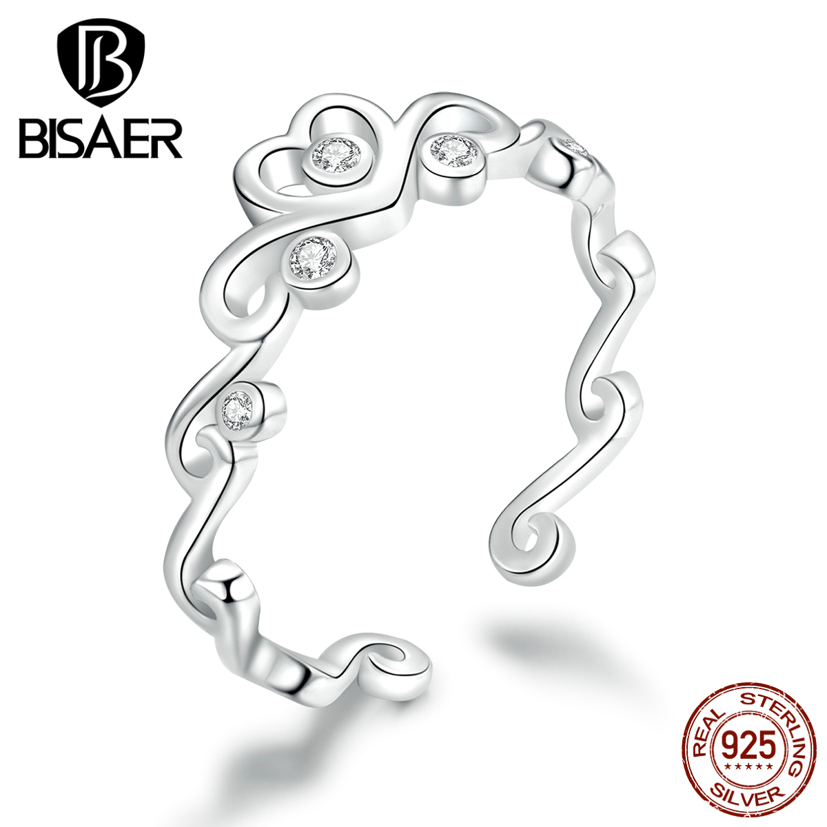 Crown Anel BISAER 925 Sterling Silver Rings Princess Crown Finger Rings For Women Wedding Engagement Statement Jewelry EFR105