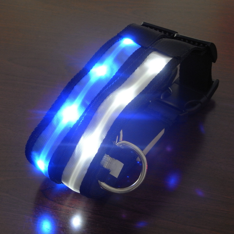 Pet Supplies Teddy Husky Small And Medium Big Dog Luminous Collar Dog Neck Ring LED Dog Belt