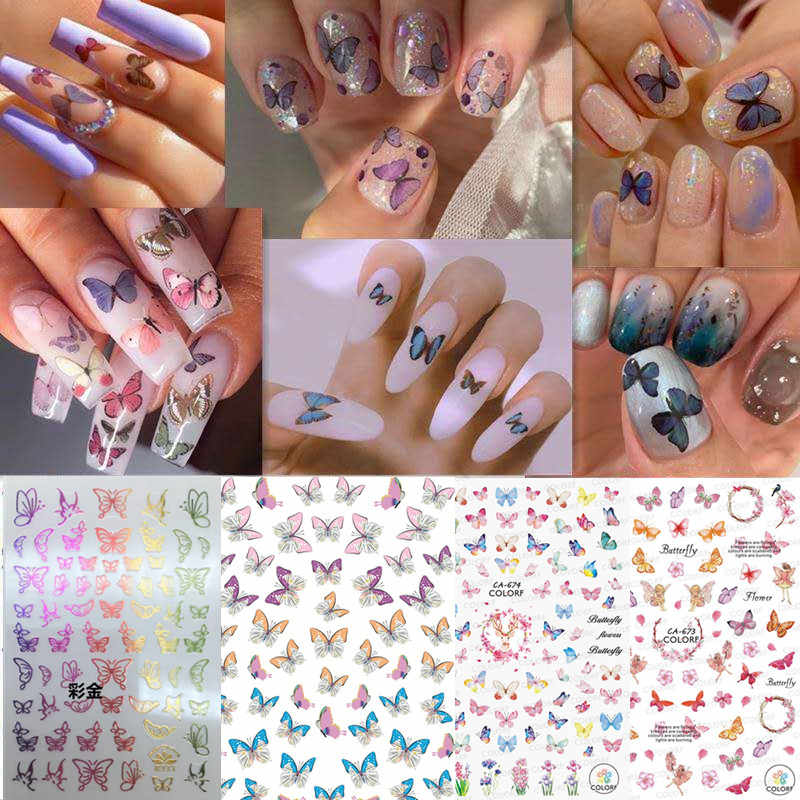 Vlinder Nail Sticker CA-478-479-481 Vlinder Nail Decals3d Nail Art Stickers Decal Template Diy Nail Tool Decoraties