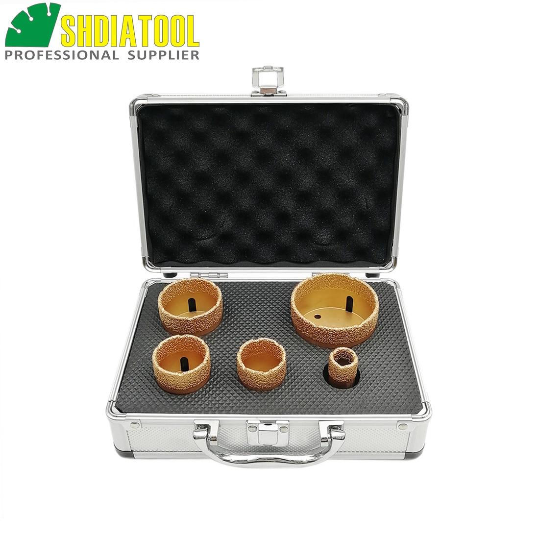 SHDIATOOL 1set M14 Vacuum Brazed Diamond Drilling Bits With Box Dia 20+35+40+50+68mm Granite Marble Ceramic Hole Saw Core Bits