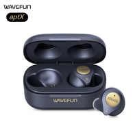 Wavefun Xpods 3T Auricolare Bluetooth Aptx Hifi Cuffie Senza Fili di Ricarica Allenamento Auricolare Totalmente 45 Ore di Musica con Il Mic