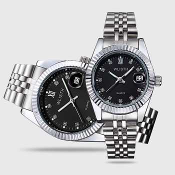 Couples  classic versatile calendar steel band Watch Set