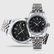 Męski klasyczny uniwersalny męski zegarek niemechaniczny zegarek kalendarz pasek stalowy męski zegarek damski zegarek zegarek dla pary tanie tanio Moda casual QUARTZ Stop 3Bar Przycisk ukryte zapięcie 12mm Hardlex q354 200cm Papier 38mm STAINLESS STEEL ROUND 14mm