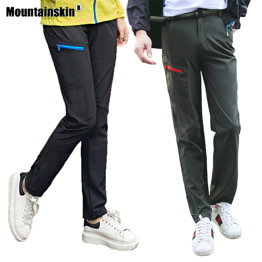 Mountainskin Womens Men's Hiking Quick Dry Pants Outdoor Sports Climbing Camping Trekking Male Thin Elastic Force Trousers VA608