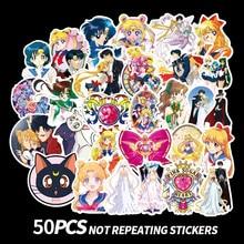 50pcs/pack Anime Sailor Moon Sticker Cartoon Girl Scrapbook Decor PVC Stationery Stickers School Office Supply