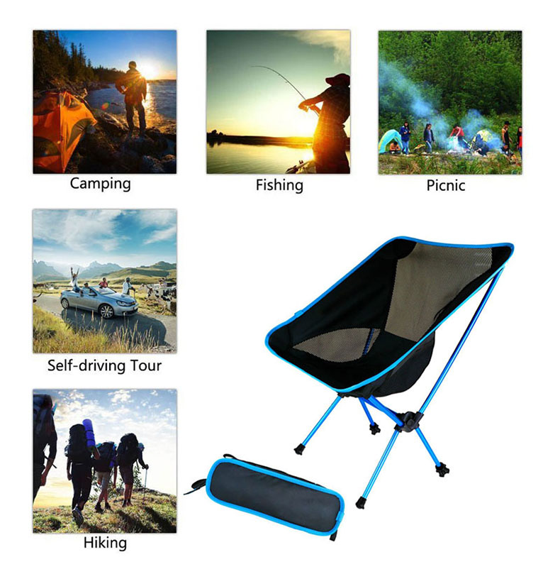 Outdoor Folding Chair For Fishing Camping Furniture Portable Chair Picnic Hiking Beach Chair Aluminum Light Bearing Seat Chair