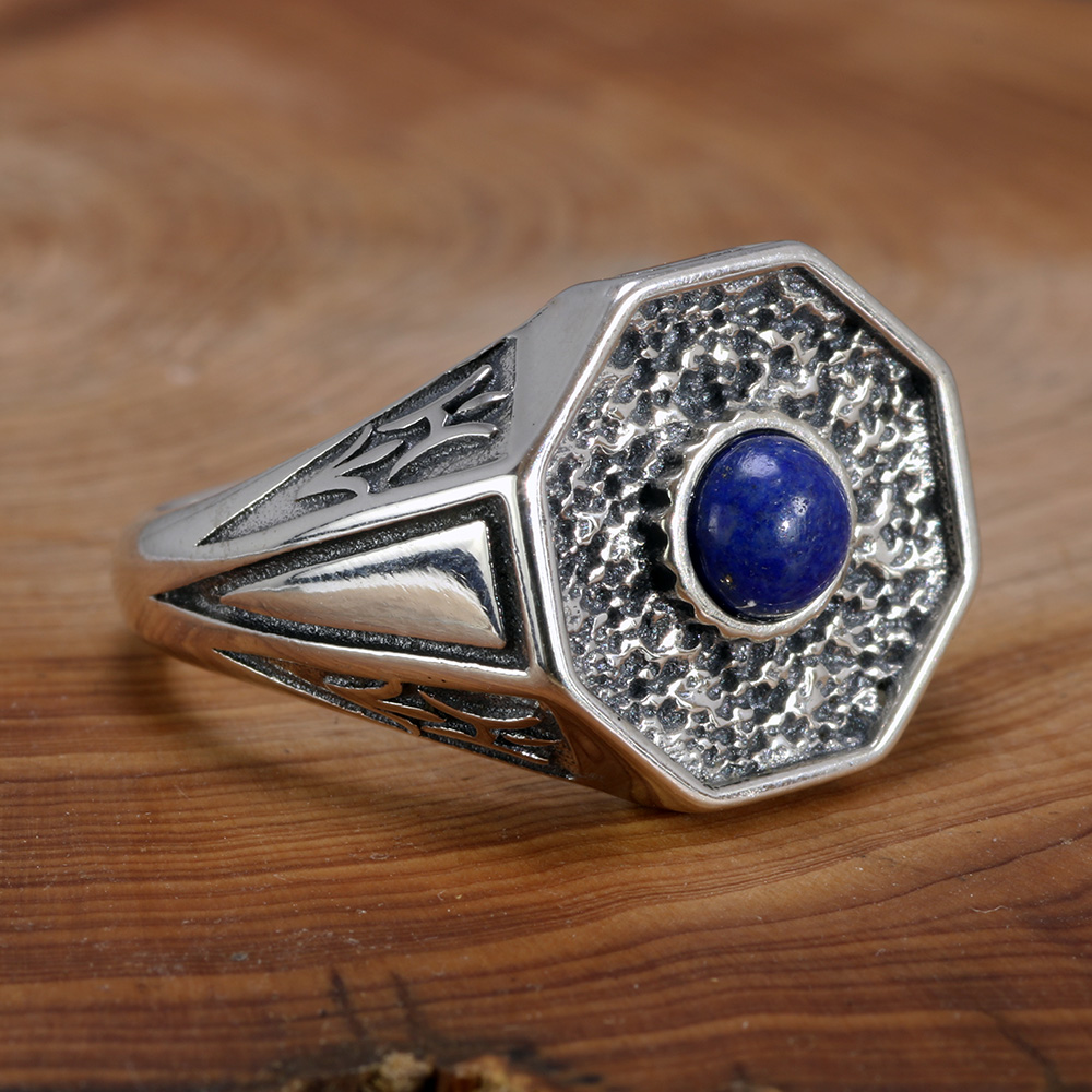 The Originals 925 Sterling Silver Vampire Rings With Natural Lapis Lazuli Stone Damon Stefan's Mens Punk Jewelry