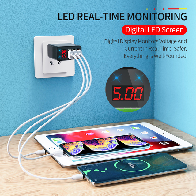 Elough Quick charge 3.0 USB Charger for iPhone 11 7 Xiaomi Samsung Huawei 5V 3A Digital Display Fast Charging Wall Phone Charger 4