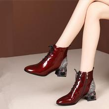 2019 Winter Shoes Women Ankle Boots Rhinestone Thick Heel Patent Leather Sequins