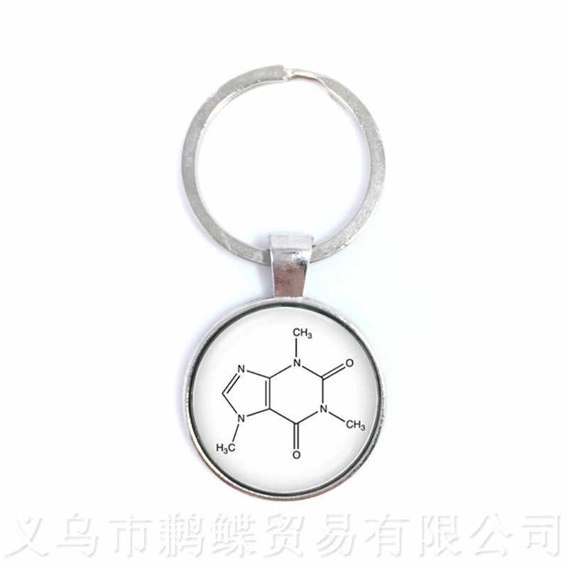 Theobromine ชีววิทยาเคมีองค์ประกอบเคมีสูตรพวงกุญแจชีวเคมีช็อกโกแลตโมเลกุลภาพจี้ของขวัญ
