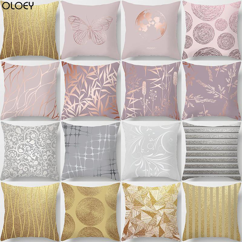 OLOEY 1PC 45x45cm Buy 5 Get 1 Pillow Case Cover Plaid Geometric Color New Linen Printed Peach Suede Pillowcase Home