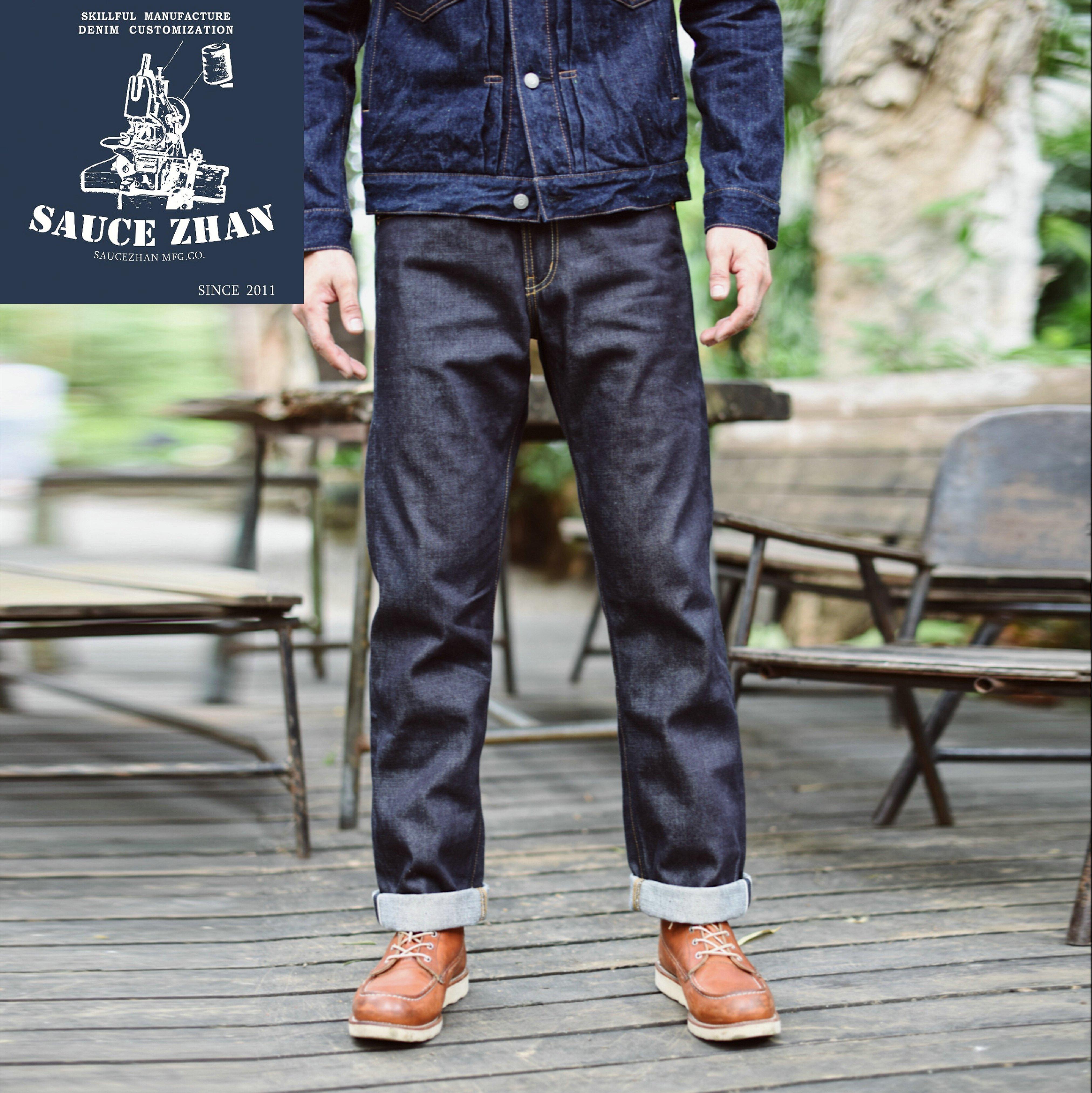 Sauzezhan 316XX повседневные джинсы с краями сырые джинсовые джинсы немытые хлопковые джинсы Индиго прямые мужские джинсы