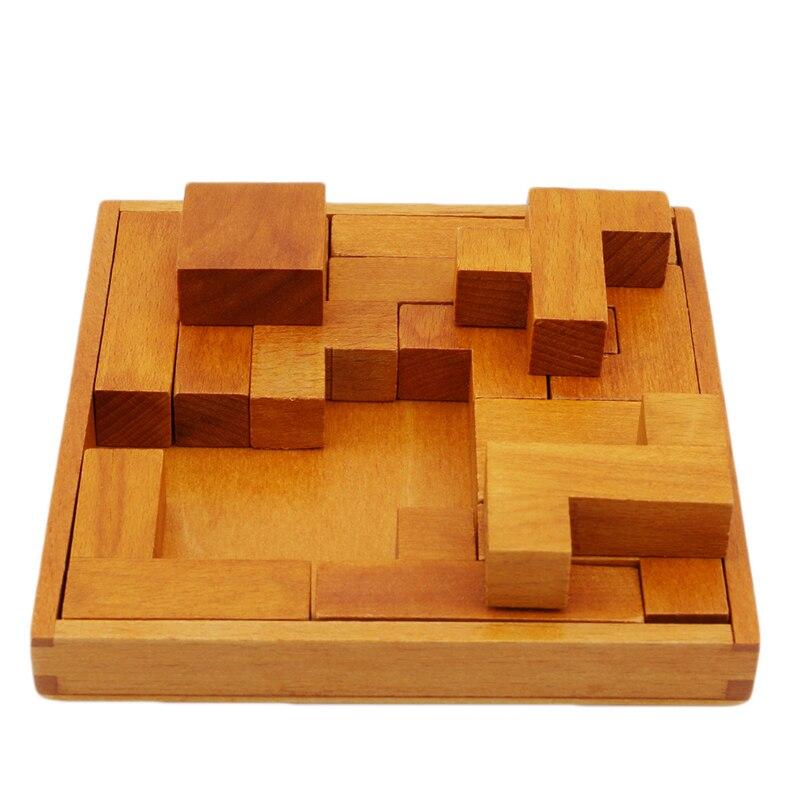 Pentominoes sólidos quebra-cabeça de madeira geometria cérebro
