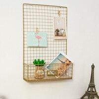 Painel de exibição foto placa memo ferro grade decoração da parede multifuncional casa sala armazenamento prateleira malha escritório diy pendurado|Prateleiras decorativas|   -