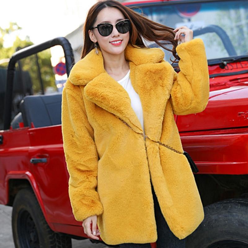 New Winter Women Rabbit Fur Coat Women Thick Warm Turn Down Collar Faux Fur Jacket Fashion Fluffy Loose Parka