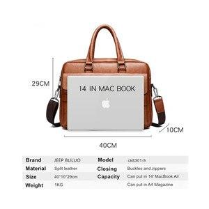 Image 3 - JEEPBULUO الرجال حقيبة حقيبة عالية الجودة العلامة التجارية الشهيرة حقائب كتف متنقلة جلدية مكتب حقيبة يد 13.3 بوصة كمبيوتر محمول