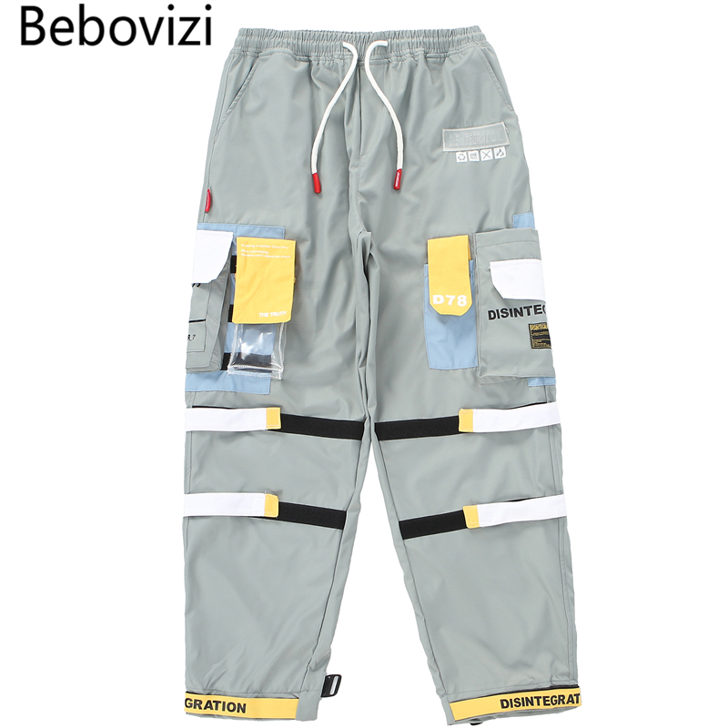 Bebovizi Harajuku Hip Hip Cargo Pants Streetwear Men Harem Pants Joggers 2019 Ribbon Multi-pocket Tactical Pants Casual Trousers