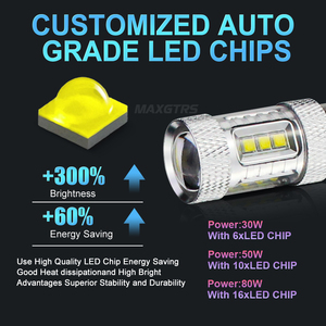 Image 5 - 2x High Power S25 1156 BA15S P21W 30W 50W 80W CREE Chip XBD LED Car Reverse Bulbs Backup Reverse Lamp Light White/Red/Yellow