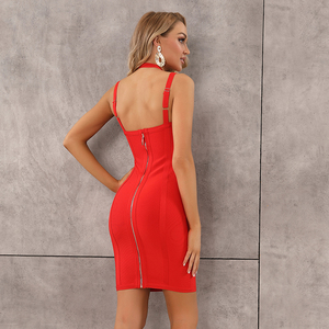 Image 5 - Vestido Bandage negro y rojo con escote triangular, Vestido de fiesta de noche con escote triangular y espalda descubierta para mujer de verano 2020, envío gratis