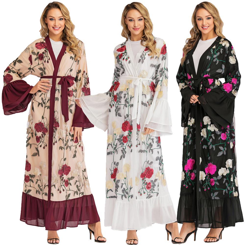 Broderie florale dubaï ouvert devant caftan islamique Abaya femmes musulman arabe Robe Jilbab Flare manches Kimono fête Robe de Cocktail