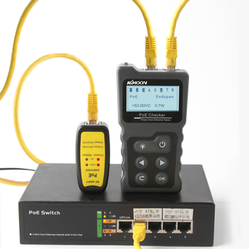 LCD Network Cable Tester Lan tester PoE Checker Inline PoE Voltage and Current Tester with Cable Tester checker the Ethernet 1